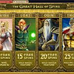 Table of distribution of free spins