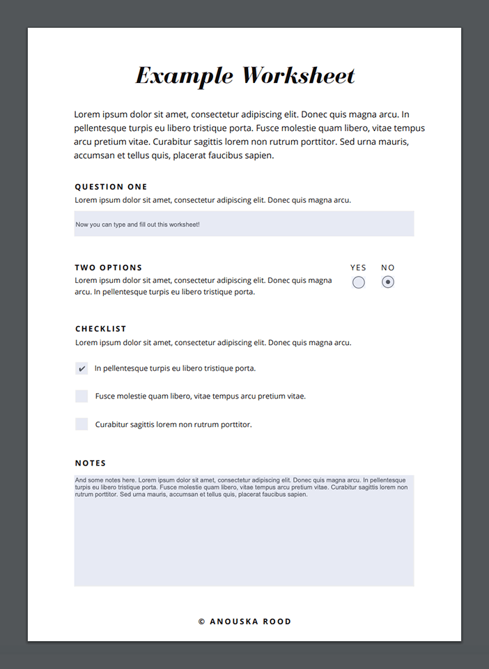 Final result: Interactive workbook with fillable fields, for a workshop, webinar or course.